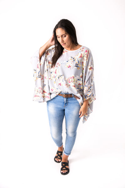 Butterfly Top - Grey Floral