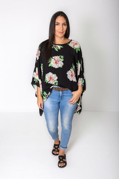 Butterfly Top - Bold Black Floral