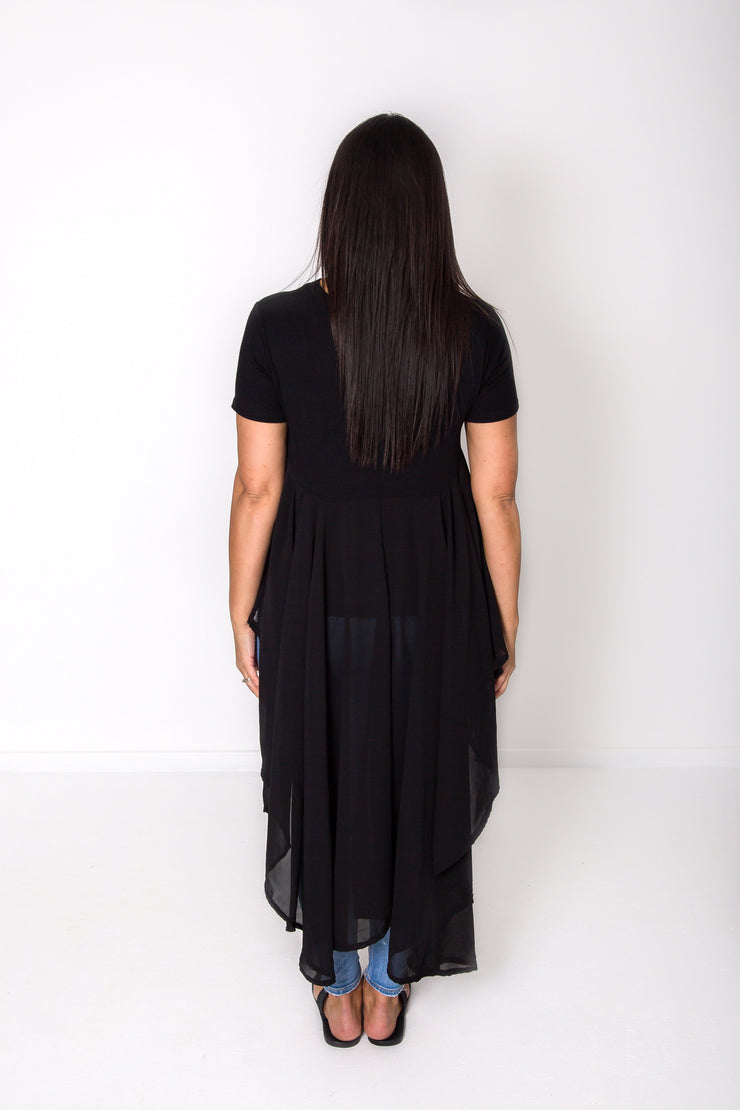 Black Long Chiffon-Back Overtop