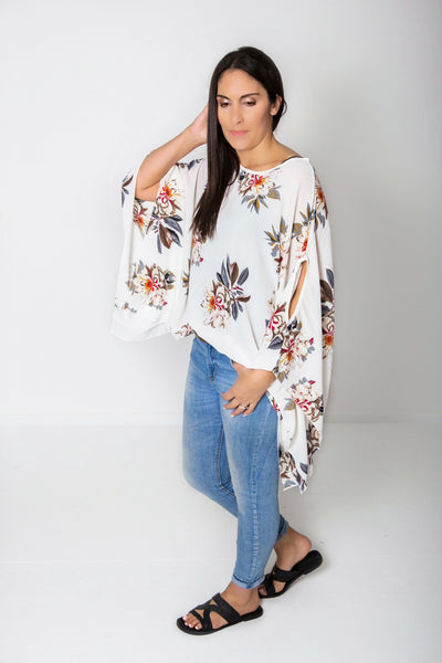 White Floral Butterfly Top