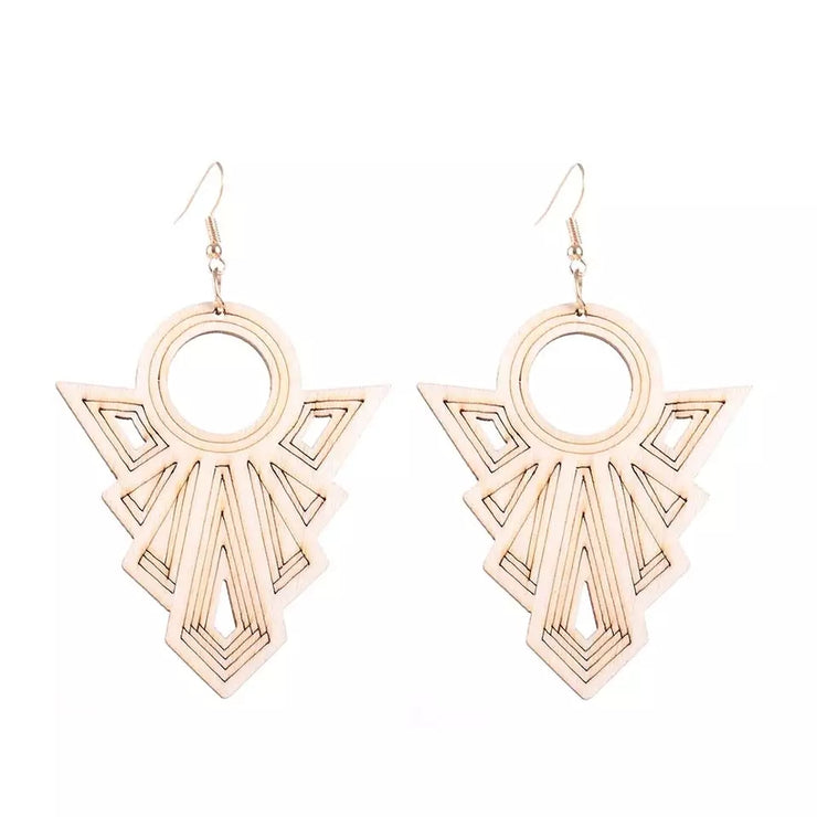 Wooden Art Deco Earrings