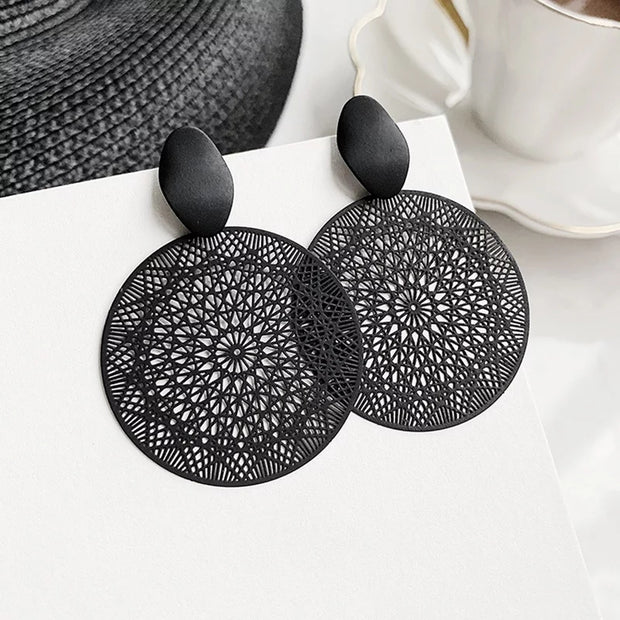 Black Mesh Mandala Earrings