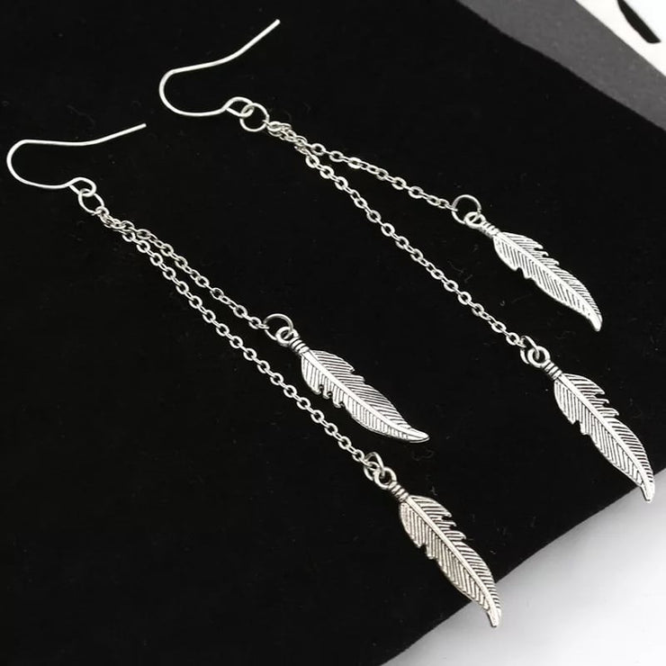 Layered Silver Feather Earrings