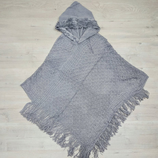 Faux Fur Detail Poncho with Hood