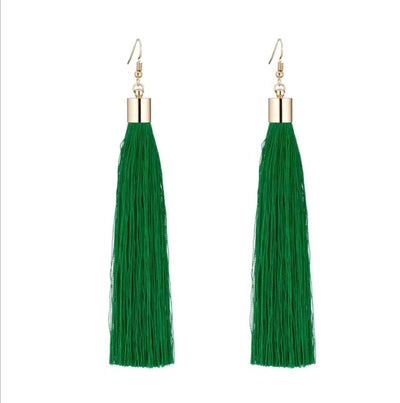 Bright Green Tassel Earrings