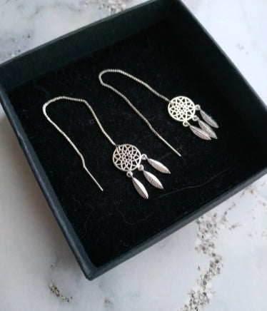 Stirling Silver Thread Dreamcatcher Earrings