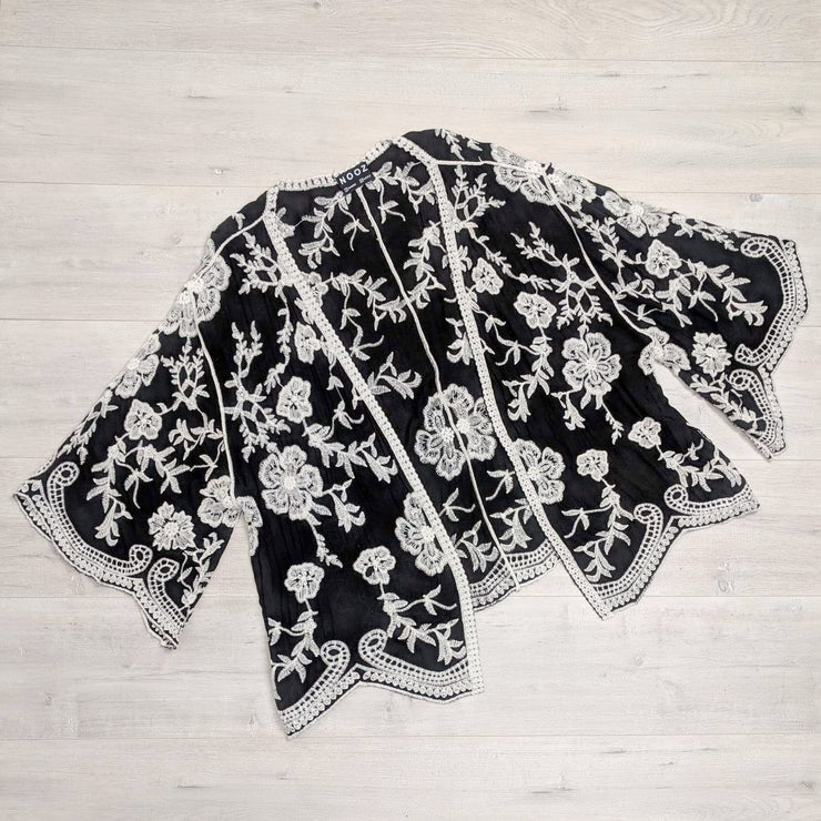 Black & White Boho Embroidered Cardi