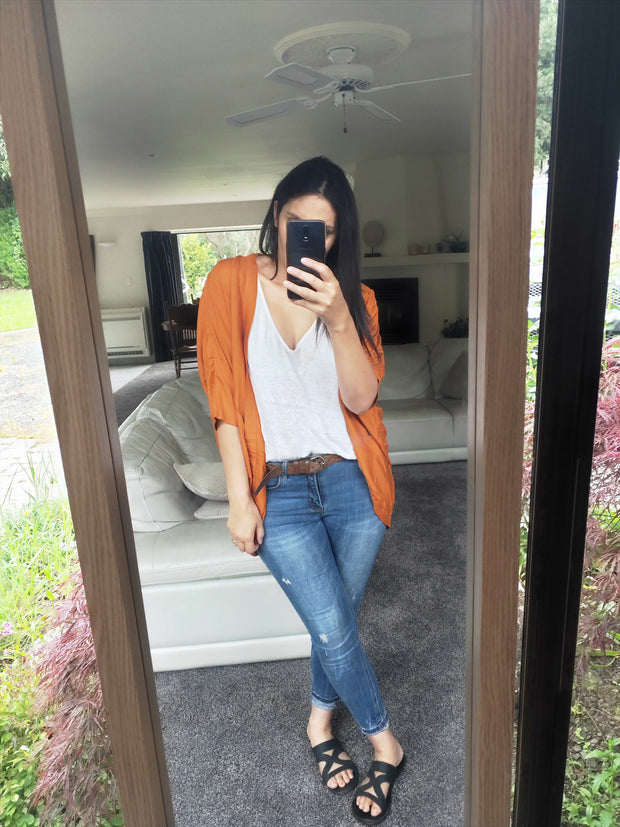 Plain Short Burnt Orange Kimono