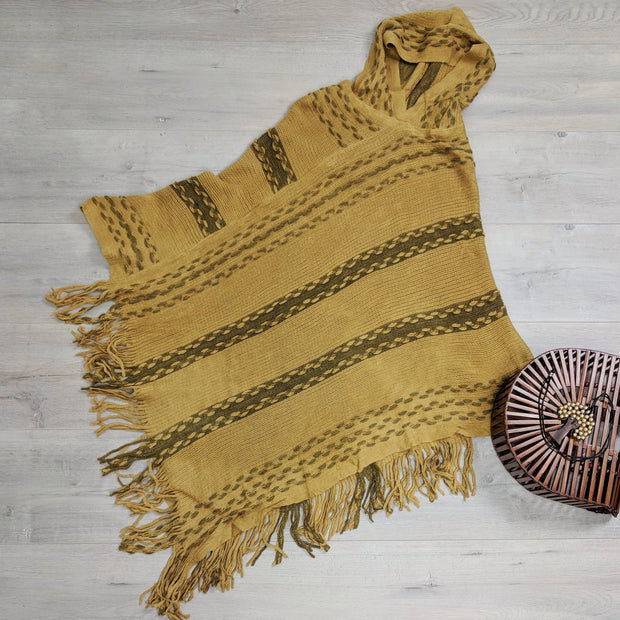 Contrast Knit Hooded Poncho
