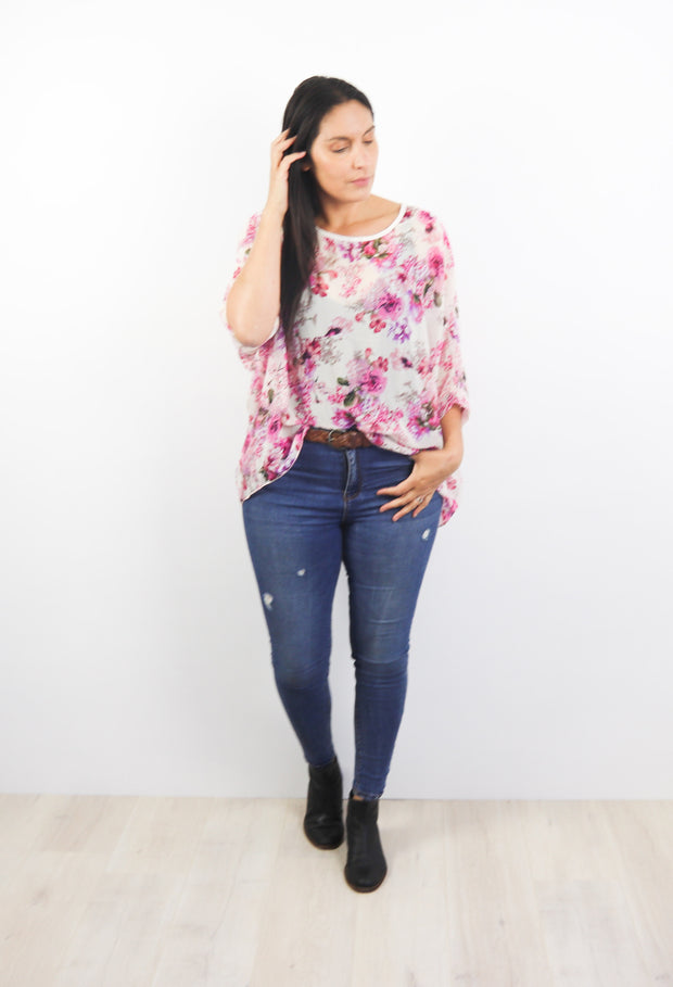 PRE-ORDER** Vintage Pink Floral Draped Top - Floral Collection
