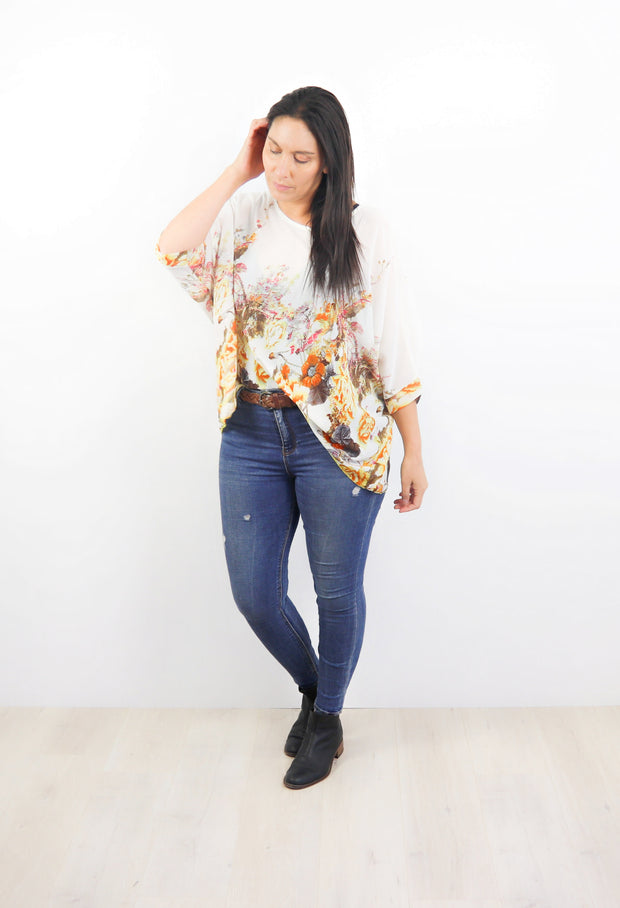 White & Gold Gardenia Draped Top - Floral Collection