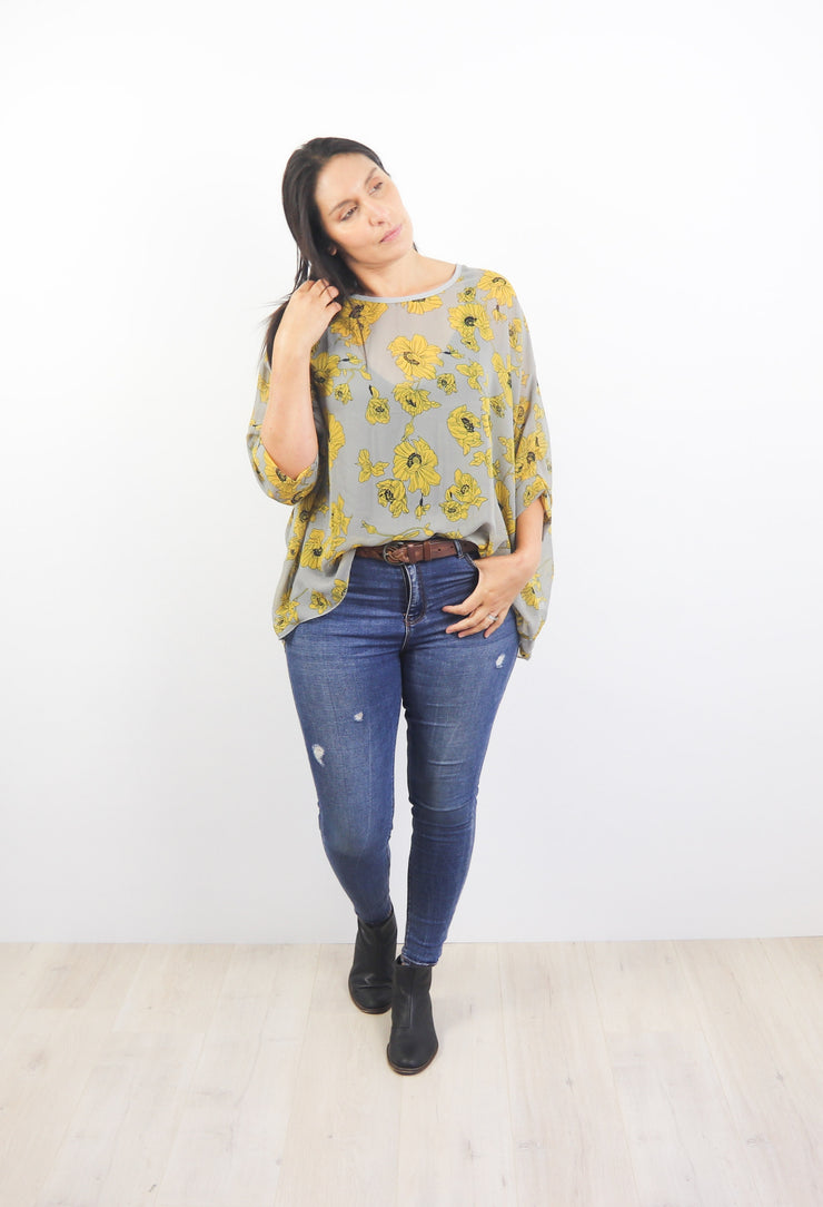 Grey & Mustard Floral Draped Top - Floral Collection