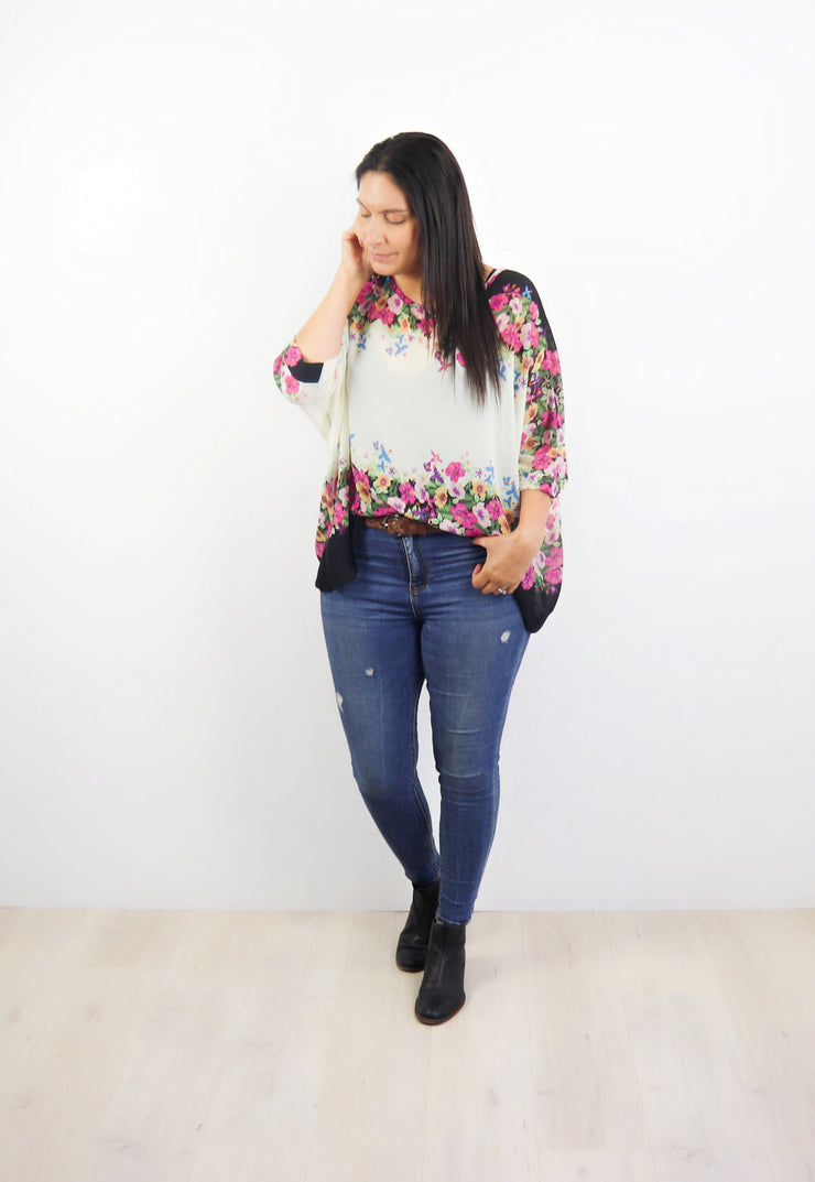 Cream Floral Border Draped Top - Floral Collection