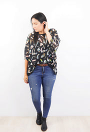 Black Feathered Draped Tops - Wild Collection