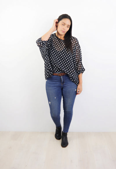 B/W Dot Draped Top - Vogue Collection