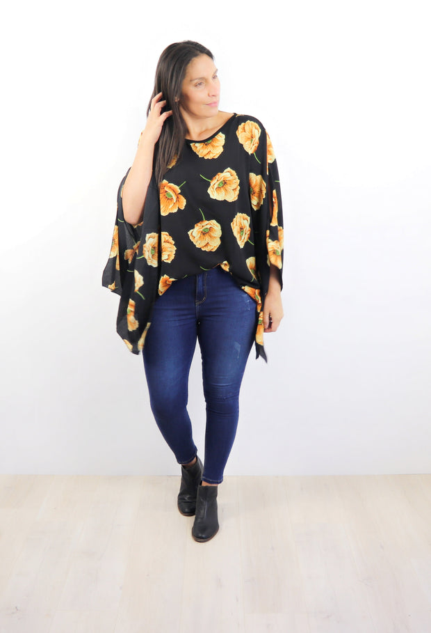 Butterfly Top - Black with Gold Peoni