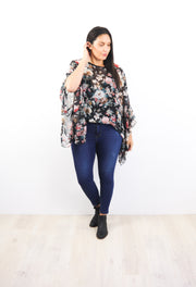 Butterfly Top - Black Floral Fable
