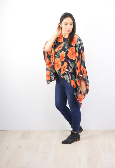 Butterfly Top - Bold Orange Floral