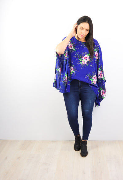 Butterfly Top - Electric Blue Floral
