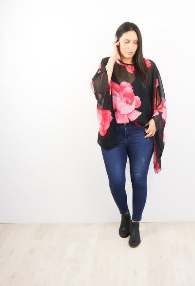 Butterfly Top - Black & Red Floral