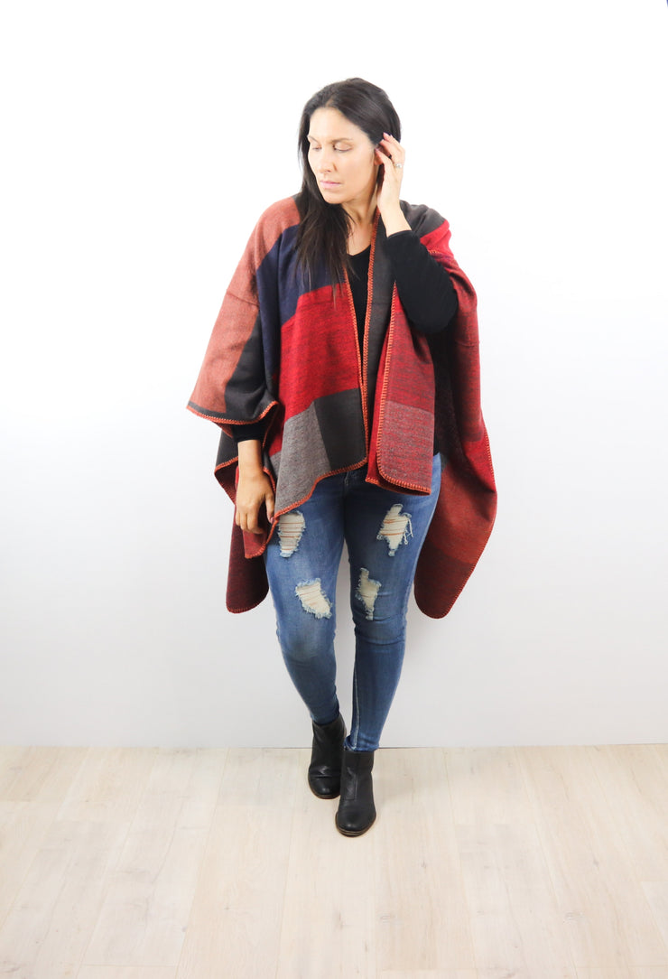 Red Contrast Atarah Blanket Wrap