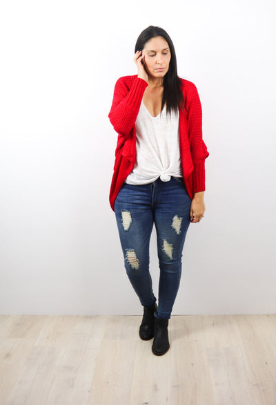 Ruby Red Colourpop Batwing Cardigan