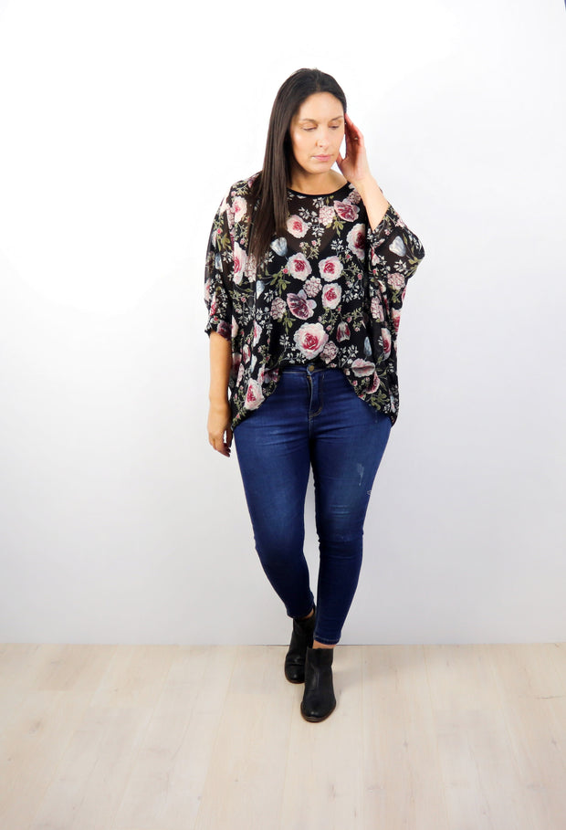 PRE-ORDER** Vintage Rose Draped Top - Floral Collection