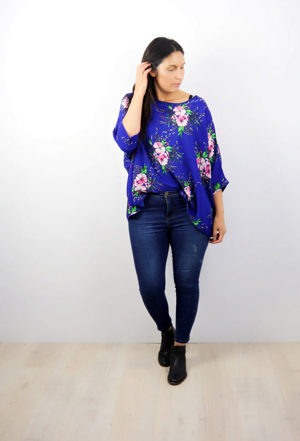 Electric Blue Floral Draped Top - Floral Collection