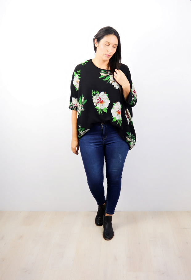 Bold Black Floral Draped Top - Floral Collection