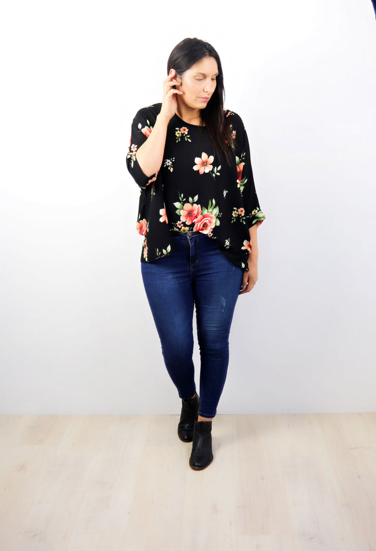 Sweet Avondale Draped Top - Floral Collection
