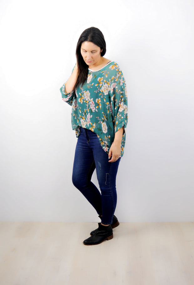 Teal & Mustard Floral Draped Top - Floral Collection