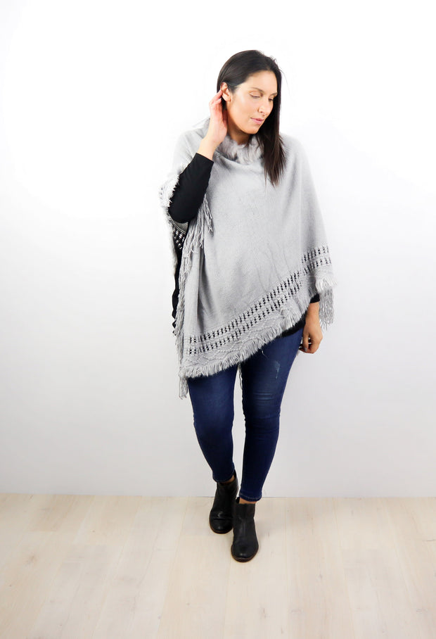 Simple Faux Fur Neck Poncho