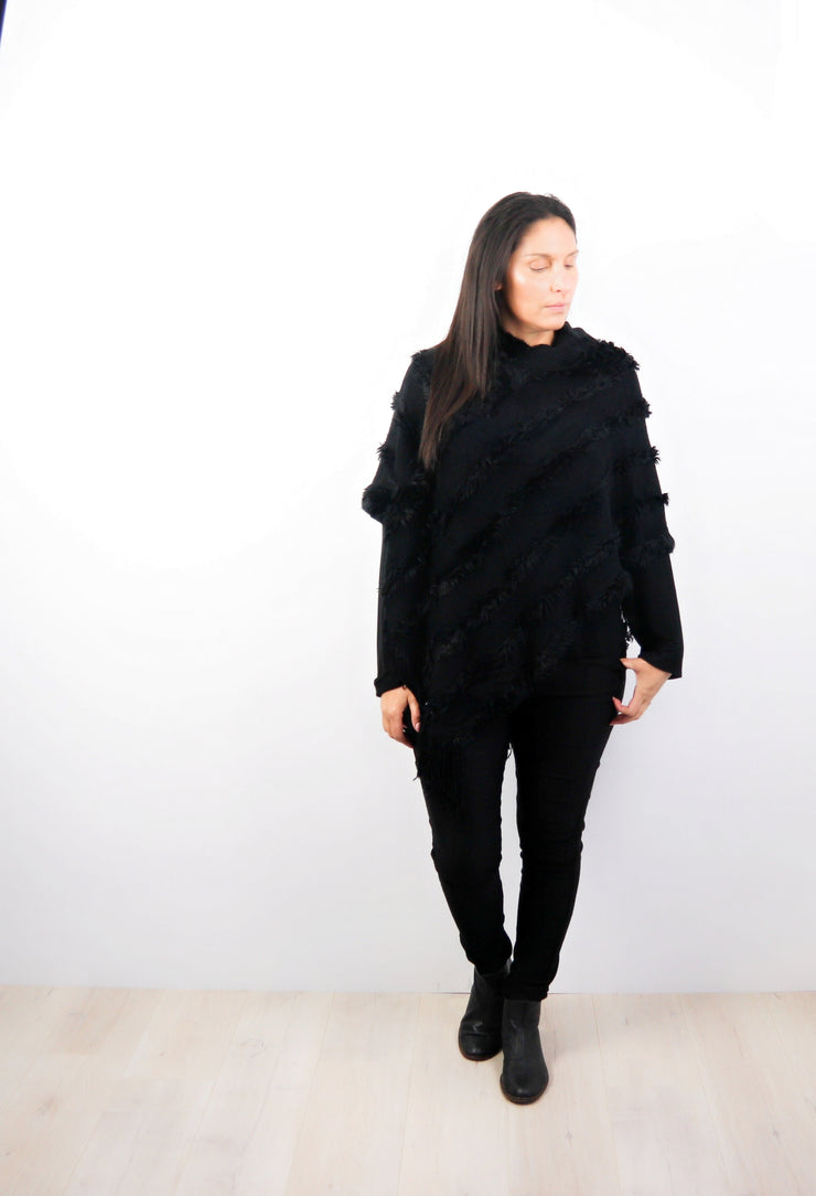 Black Faux Fur Hooded Poncho