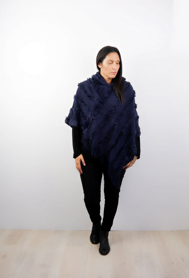 Navy Faux Fur Hooded Poncho
