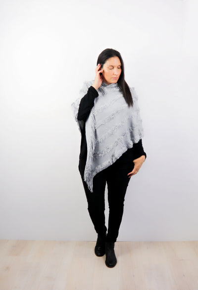 Silver Faux Fur Hooded Poncho
