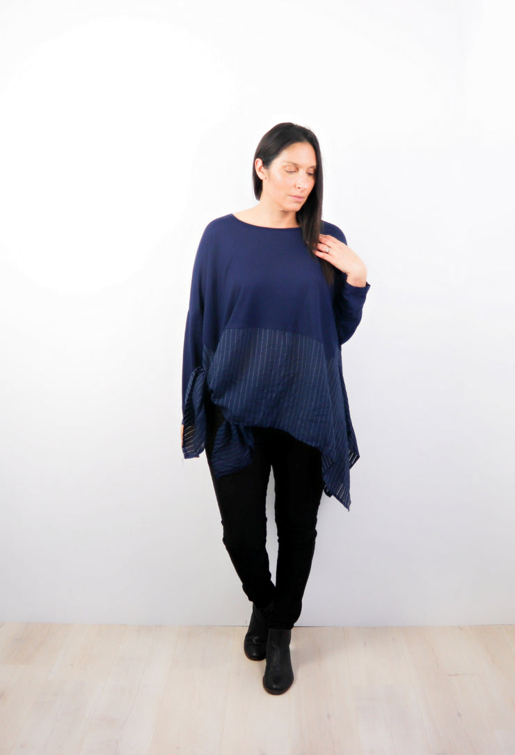 Navy Oversized Draped Gigi Top