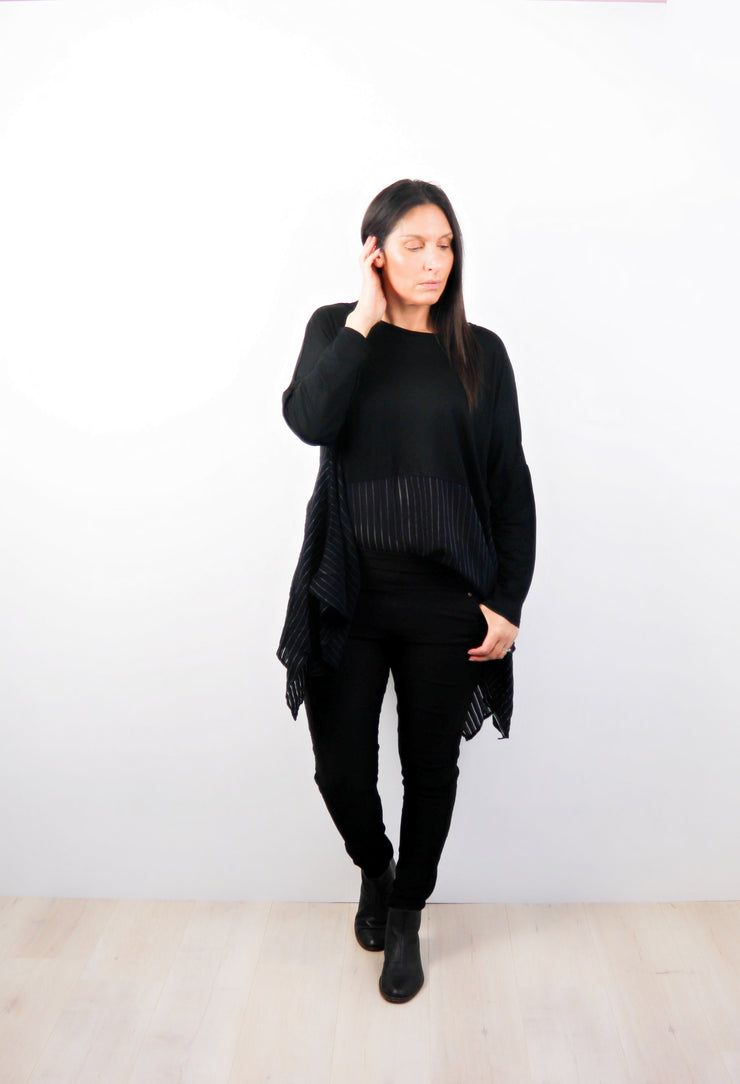Black Oversized Draped Gigi Top