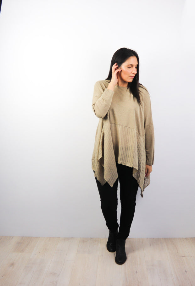 Tan Oversized Draped Gigi Top