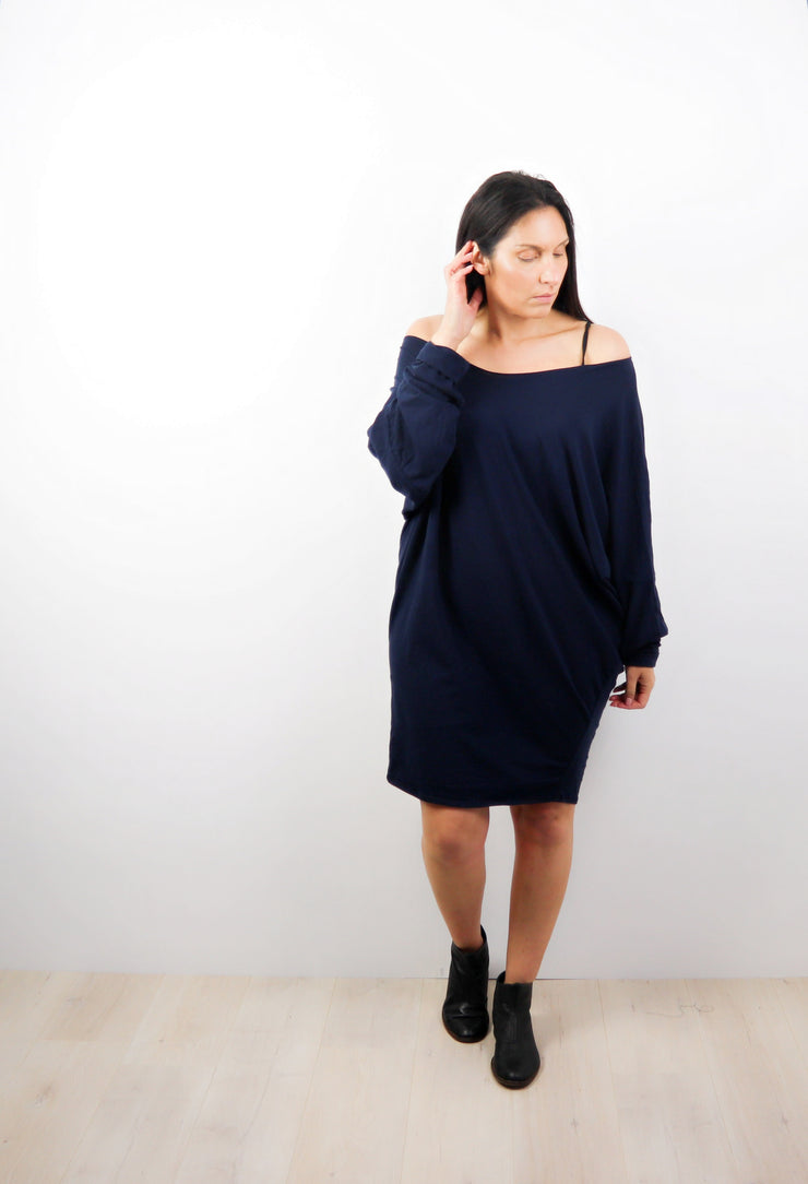 Dark Navy Off-shoulder Draped Dress