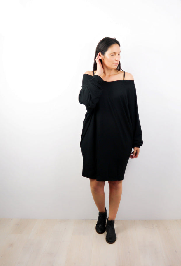 Black Off-shoulder Draped Dress