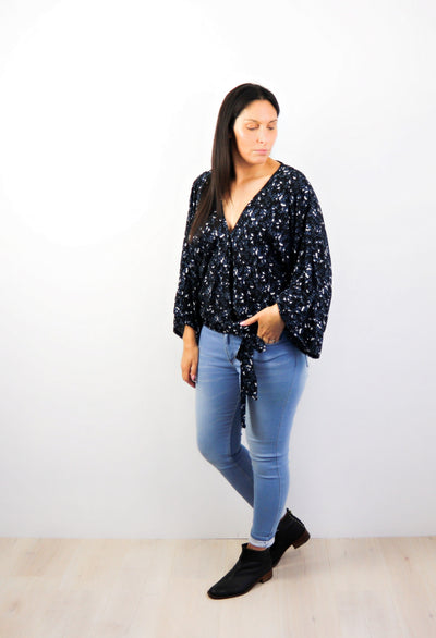 Black Small Floral - Loose Sleeve Rosalie Tie Top