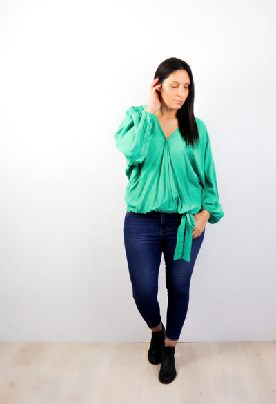 Plain Green - Fitted Sleeve Rosalie Tie Top