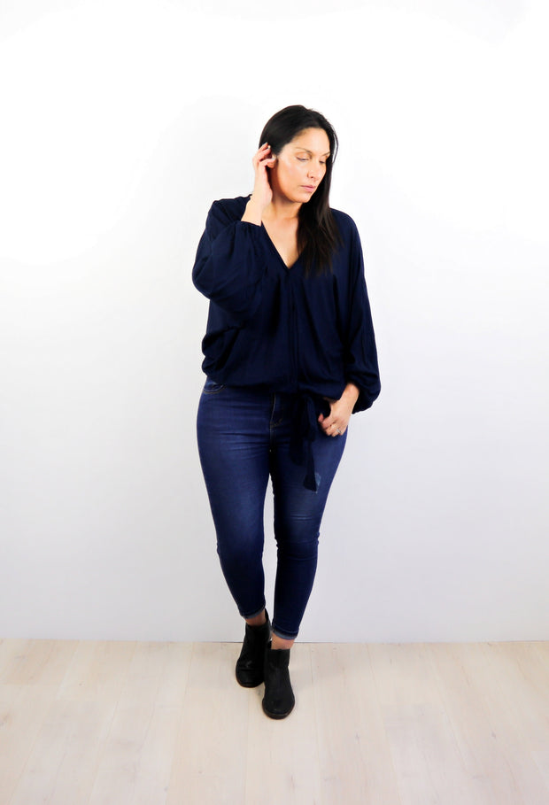 Plain Navy - Fitted Sleeve Rosalie Tie Top