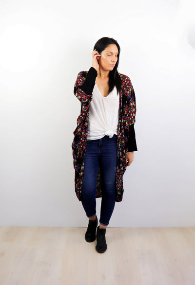 LS Long Kimono - Black & Orange Bouquet