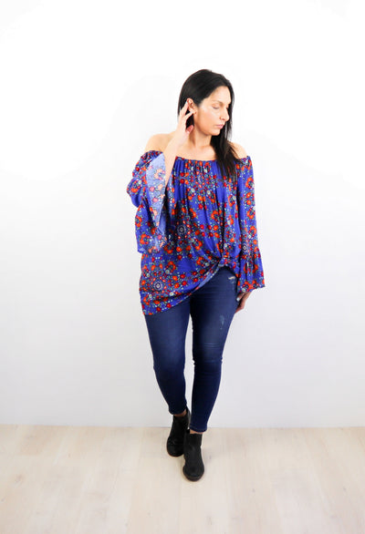 Cobalt & Orange Bouquet Off-Shoulder Sabrina Top