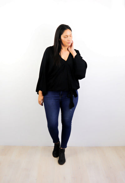 Plain Black - Fitted Sleeve Rosalie Tie Top