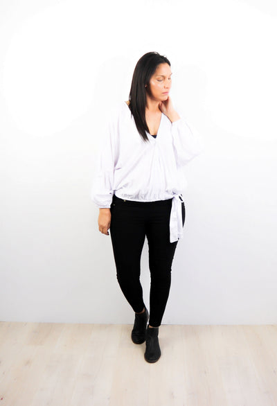 Plain White - Fitted Sleeve Rosalie Tie Top