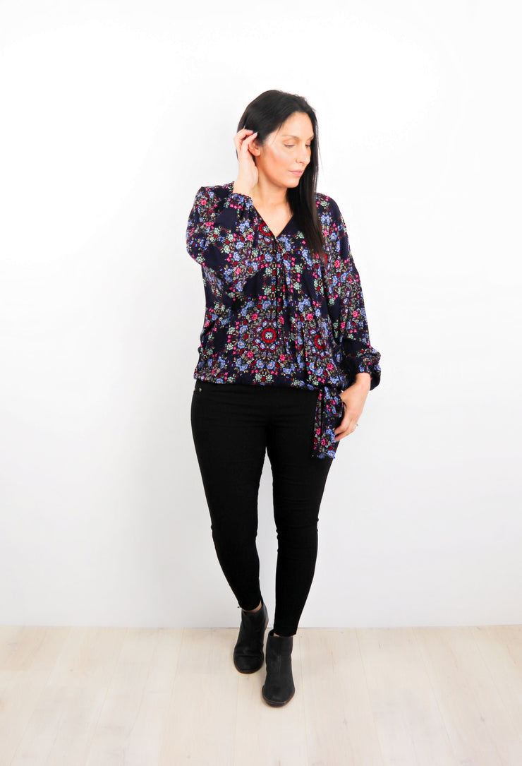 Navy & Pink Bouquet - Fitted Sleeve Rosalie Tie Top