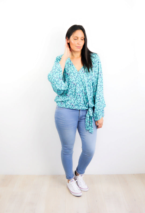 Aqua Small Floral - Loose Sleeve Rosalie Tie Top
