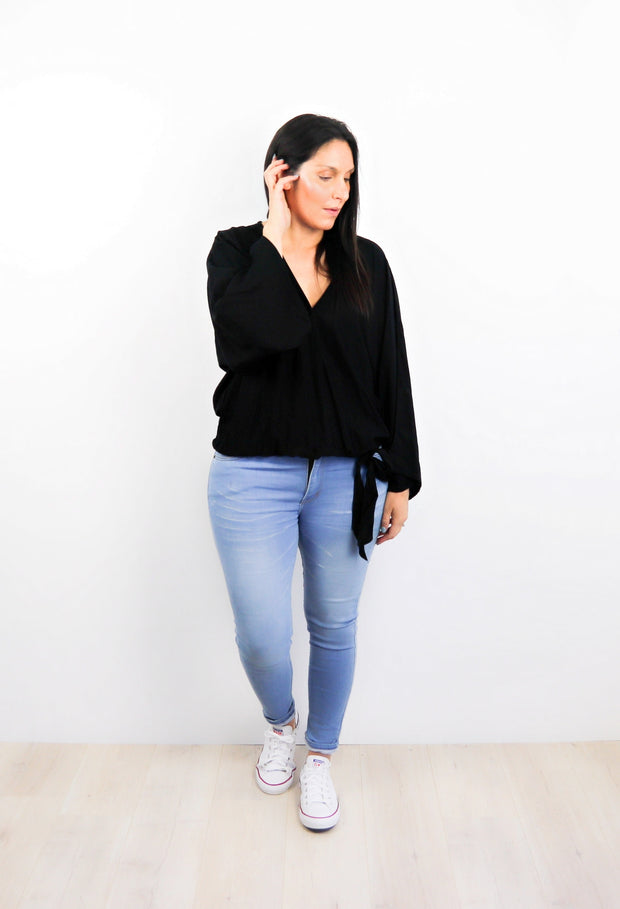Plain Black - Loose Sleeve Rosalie Tie Top